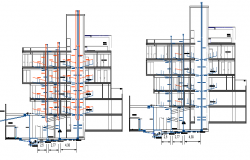 Building section with sanitary installation details dwg file