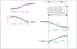 Building stair elevation section view and plan view detail dwg file