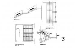 Building staircases section and constructive structure details dwg file