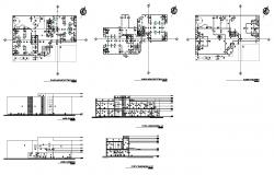 Building structure 2d view plan, elevation and section layout autocad file