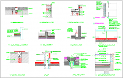 Building wall special treatment detail dwg file
