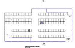 Building with park 4 levels plans detail dwg file