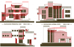Bungalow Elevation Design autocad file