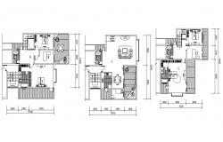 Bungalow Furniture Layout Floor Plan AutoCAD Drawing