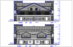 Bungalow House elevation view detail dwg file