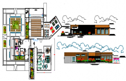 Bungalow Plan and elevation detail dwg file