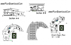 Bungalow building detail section and plan 2d view layout file