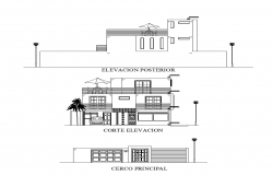 Bungalow building structure detail elevation 2d view layout dwg file