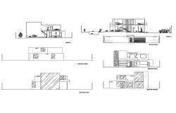Bungalow design plan with elevation and section in dwg file