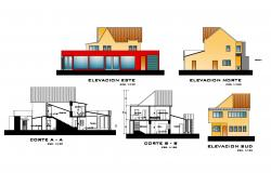 Bungalow design with different elevation and section in autocad