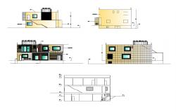 Bungalow design with different elevation in dwg file