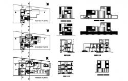 Bungalow design with elevation and section detail in autocad