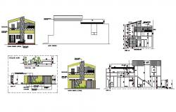 Bungalow elevation drawing in autocad