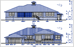 Bungalow elevation plan view details dwg file