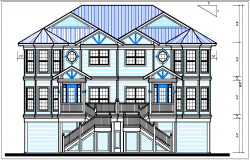 Bungalow elevation plan with dimension view detail dwg file