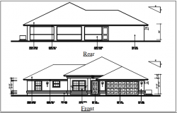 Bungalow elevation view details dwg files