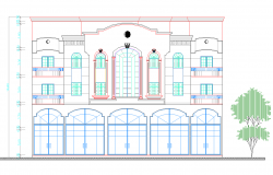Bungalow elevation view dwg file