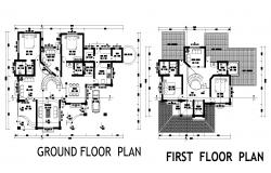 Bungalow layout plan detail dwg file,