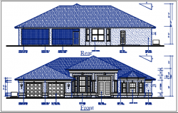Bungalow plan Front and rear elevation view of bungalow dwg file