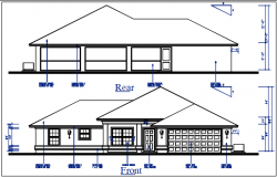 Bungalow plan Front & rear elevation view of bungalow dwg file