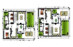 Bungalow plan design with detail dimension in dwg file