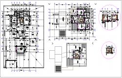 Bungalow plan detail  view dwg file