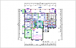 Bungalow plan layout detail view dwg file