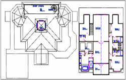 Bungalow plan view details dwg file