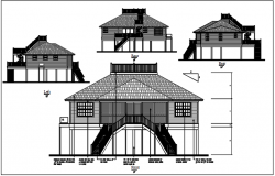 Bungalow plan view details dwg files