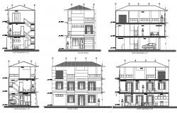 Bungalow plan with detail dimension in dwg file