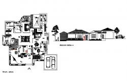 Bungalow plan with elevation detail in autocad