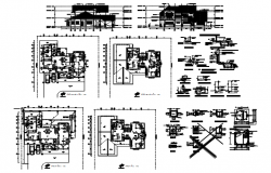 Bungalow plan with elevation detail in dwg file