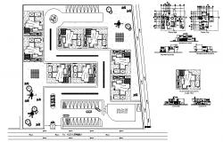 Bungalow plan18.71mtr x 13.75mtr with elevation and section in autocad