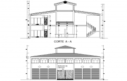 Bungalow section plan detail dwg file