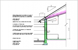 Bungalow section view of roof and side column detail dwg file