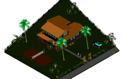 Bungalows architectural view in 3d dwg file