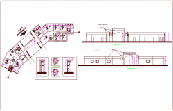 Bungalows elevation and section view with plan dwg file