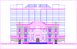 Bungalows elevation design view in Islamic art dwg file