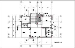 Bungalows first floor plan with architecture view dwg file