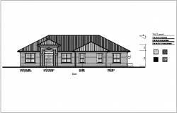 Bungalows front elevation with wall legend dwg file