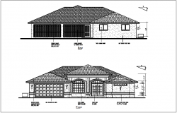 Bungalows rear and front view dwg file