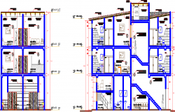 Bus terminal hotel and office elevation dwg file
