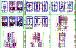 Business building floor plan,elevation and section view with different axis view dwg file