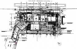 Business hub building plan detail dwg file