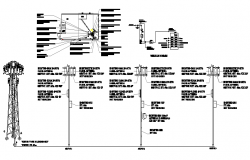 Cabin, single line diagram and electric installation of tower dwg file
