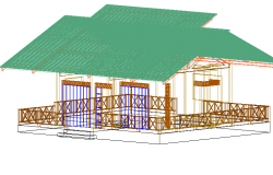 Cabin 3 D view detail dwg file