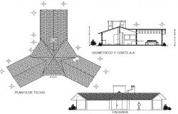 Cabin elevation and section plan detail dwg file