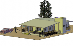 Cabin environment and furnished 3 D plan detail dwg file