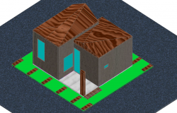 Cabin house 3d view dwg file