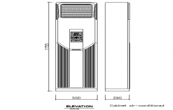 Cabinet air-conditioned cad elevation details dwg file